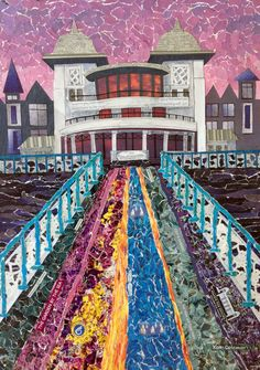 """""""Penarth Pier at Sunset"""" - by Kath Coleman Torn and cut paper collage. Cut Paper, Paper Cutting, City Art, Collage Art, Colored Pencils, Wales, City Photo, Past, Mixed Media"""