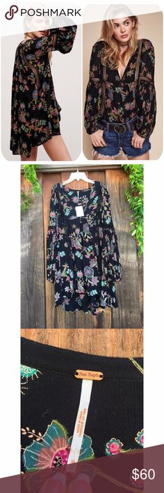 FREE PEOPLE Tunic Gorgeous, flowy black floral Tunic, never worn! In absolutely perfect condition Free People Dresses Mini