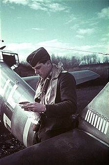 a German Messerschmitt Bf 109 pilot is noting how many British and French aircrafts he has shot down at a German air force base in Northern France - autumn 1940 (or spring 1941) - Photographer: Artur Grimm - pin by Paolo Marzioli
