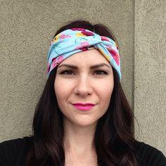 Blue Spring Floral Turban OR Head Wrap Headband on Etsy, $10.99