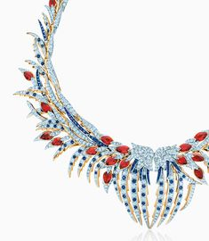 Jean Schlumberger's magnificent jewelry masterpieces like his fantastical Plumes necklace of diamonds, sapphires and rubies are faithfully replicated by Tiffany craftsmen today.