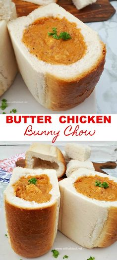 Butter Chicken Bunny Chow - Kathleen Ryan - Butter Chicken Bunny Chow Butter Chicken Bunny Chow is an easy, popular South-African meal - tender, saucy, slightly spicy Butter Chicken served in hollowed out bread - South African Dishes, South African Recipes, South African Bunny Chow, South African Desserts, Grilled Chicken Recipes, Best Chicken Recipes, Dutch Oven Recipes, Cooking Recipes, Grill Recipes