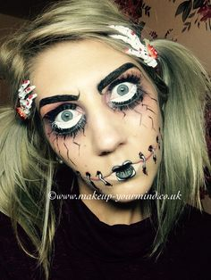 'Do you want to come out to play?' Creepy doll makeup. Doll eyes and stitched lips.