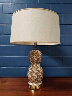 Vintage Gold Table Lamp Mid Century Modern Retro Ceramic Hollywood Regency 60s by TakeFiveVintage on Etsy