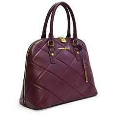 6a6ac9342c41 Shop for Adrienne Vittadini Diamond Stitched Dome Satchel-Merlot. Get free  delivery at Overstock - Your Online Handbags Shop! Get 5% in rewards with  Club O! ...