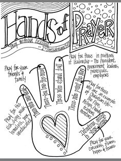 "Look to Him and be Radiant: Hands of Prayer. Would change the ""pointer finger"" to pray for our elders, deacons, minister, Bible class teachers, etc. Bibel Journal, Prayer Stations, Church Activities, Children Activities, Religion Activities, Cub Scout Activities, Teaching Religion, Bible Prayers, Children's Bible"
