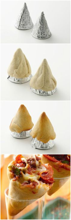 Fazer com massa de pão de queijo.Pizza Cones ~ Portable, personalized pizza in a cone- ready for tail-gating and game day.
