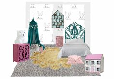 Big girl's room with teal blue and pink highlight using Numero 74 canopy and peacock headboard and matching cabinet.