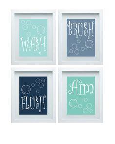 Bathroom Rules Boys Bathroom Boys Bathroom Decor Wall Art Blue Shades Print Set of 4-8X10 Prints Choose Your Color