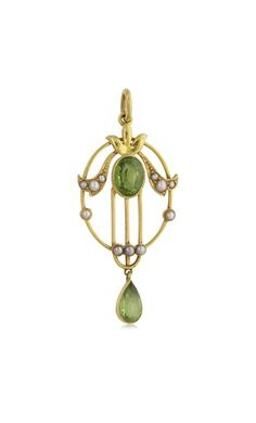 Vintage 15ct yellow gold peridot & seed pearl pendant