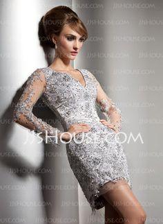 Sheath V-neck Short/Mini Tulle Charmeuse Evening Dresses With Lace Beading (017006349)
