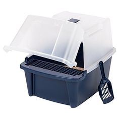 IRIS SplitLid Hooded Litter Box w Scoop  Paw Cleaning Grid Large Navy *** Visit the image link more details.(This is an Amazon affiliate link and I receive a commission for the sales)