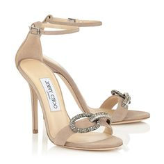 Nude Suede Sandals with Crystal Piece   Tamsyn 110   Pre Fall 15   JIMMY CHOO Shoes