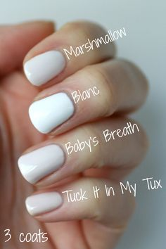 Essie Whites Comparison : Limo-Scene, Marshmallow, Tuck It In My Tux, Baby's Breath, Blanc & Private Weekend | Essie Envy