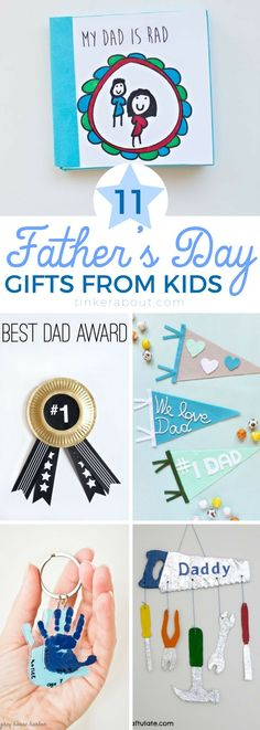 These Father's Day Gifts from Kids are the cutest! They are easy to make & will make Dad happy! I'm sure one of these adorable Father's Day Crafts for Kids will be the perfect gift for dad! Click through to see them all. #kidscrafts #fathersday #craftsforkids #fathersdaygiftsfromkids