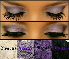 Loving this look. Curious, Flirty, Regal & Devious Pigments and 3D Fiber Lashes to finish. www.youniqueproducts.com/tashabrooks