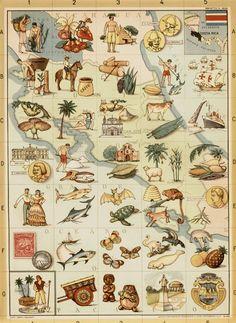 Mapa turístico de Costa Rica. Institut pour la recherche géographique Milan. Mapa original en italiano. 1960