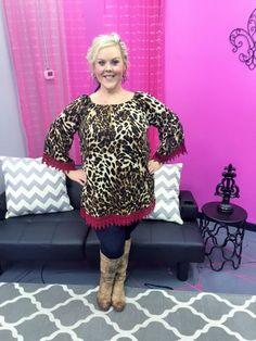 Leopard Red Lace Trimmed Top - #blondellamydean #plusfashion #plussizefashion #plussize