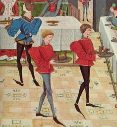 Histoire de Renaud de Montauban, Bruges, 1468-1470 Paris, BnF, Arsenal, manuscrit 5073 fol. 148 - -    --- SERVERS HAVE SIMILAR OUTFITS IN DIFFERENT COLORS.----