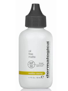 Dermalogica oil free matte (spf 30): Sunscreen for acne prone skin. Leaves matte finish. You can mix this with your moisturizer and wear under makeup or alone daily.