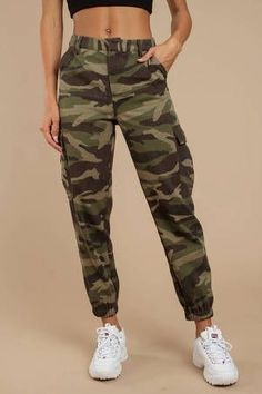 Yorki Camo Cargo Pants Yorki Olive Multi Camo Cargo Pants<br> Lookin' tough in the Yorki Olive Multi Camo Cargo Pants. These cargo joggers feature a high waisted construction, utilitarian pockets, cinching at the Teen Fashion Outfits, Outfits For Teens, Fashion Models, Girl Outfits, Hip Hop Dance Outfits, Fashion 2017, Crop Top Hoodie, Cargo Pants Women, Pants For Women