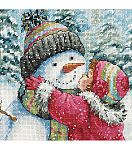 Cross Stitch Patterns Gold Collection Petite A Kiss For Snowman Counted Cross Stitch Kit - Counted Cross Stitch Patterns, Cross Stitch Charts, Cross Stitch Designs, Cross Stitch Embroidery, Cross Stitch Angels, Hand Embroidery Kits, Embroidery Patterns, Snowman Cross Stitch Pattern, Dimensions Cross Stitch