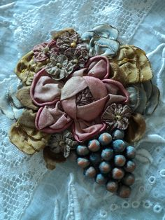 Antique Silk Ribbonwork Applique