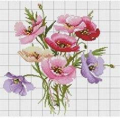 This Pin was discovered by лар Simple Cross Stitch, Cross Stitch Flowers, Cross Stitch Charts, Cross Stitch Designs, Cross Stitch Patterns, Cross Stitching, Cross Stitch Embroidery, Embroidery Patterns, Hand Embroidery