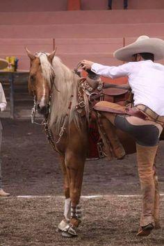 Un Charro subiendo al caballo