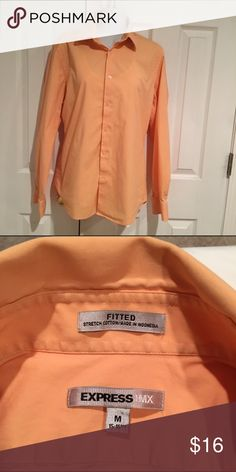 Button down shirt Stretch cotton poplin button down shirt. Full sleeve beautiful apricot color. Great with slacks or jeans! Express Tops Button Down Shirts