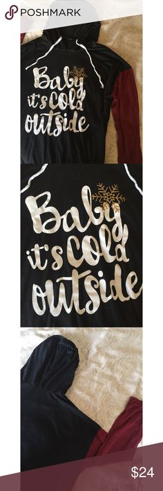 "Baby it's Cold Outside Hoodie Very soft and stretchy hoodie with drawstrings. Has the quote ""Baby it's cold outside"" on the front. I cut the tag out and forget where it's from exactly! 😊💕 Tops Sweatshirts & Hoodies"