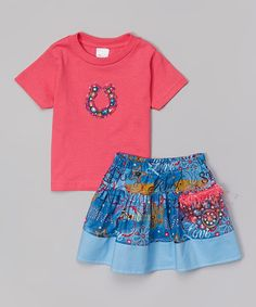 Love this Pink Horseshoe Rhinestone Tee & Skirt - Infant, Toddler & Girls by Western Border on #zulily! #zulilyfinds