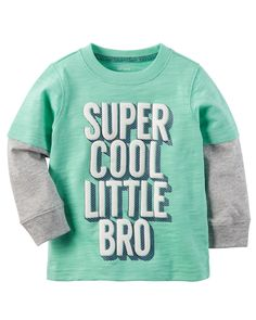 """Baby Boy Carter's """"Super Cool Little Bro"""" Mock-Layered Long Sleeve Graphic Tee, Lt Green Family Tees, Carters Baby Boys, Baby Boy Outfits, Graphic Tees, Sweatshirts, Long Sleeve, Sweaters, Clothes, Embroidery Ideas"""