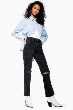 116b666a25f TALL Washed Black Rip Straight Jeans