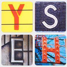 Manhattan alphabet coasters by photographer Joanne Dugan