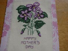 VIOLETS  Mother's day card cross stitch