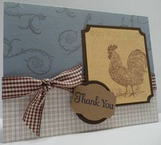 Rustic Rooster Stampin Up, another self contained card with limited palette and using the whole stamp set.