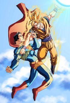 Superman vs Goku Who would win? My money is on Goku. Comic Anime, Anime Comics, Dc Comics, Goku Super, Super Saiyan, Dragon Ball Gt, Smallville, Man Of Steel, Akira