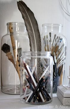 #paintbrushes #feathers #jars #art