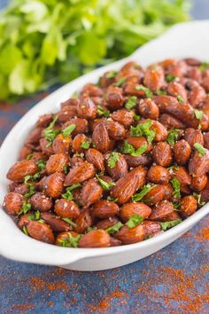 These Easy Chili Almonds are a simple snack that's packed with deliciousness. Roasted in a skillet and tossed with zesty flavors, these almonds are perfect for those snack cravings! Easy Appetizer Recipes, Easy Snacks, Easy Dinner Recipes, Snack Recipes, Easy Meals, Appetizers, Easy Recipes, Top Recipes, Cookbook Recipes