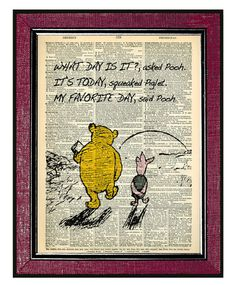 WINNIE The POOH and PIGLET 2 Book Page Art by DogEarPrints on Etsy, $12.00