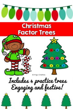 """Celebrate this time of year with Christmas factor trees and a fun, festive song to go along! This document includes the following: 1. Printable shapes for students to decorate and cut out. There are more than enough for each student in case they make a mistake or want to make more than one! 2. Student directions 3. Four practice factor trees 4. """"O Factor Tree"""" lyrics to sing with your students"""