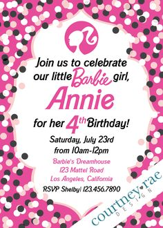 Barbie Birthday Party Invitations by CourtneyRaeDesign on Etsy https://www.etsy.com/listing/400148321/barbie-birthday-party-invitations