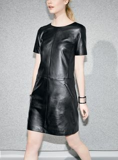 Yes to this gorgeous piece! Halogen leather and ponte knit shift dress.