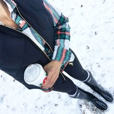 IG @mrscasual <click through to shop this look> plaid rocksalt flannel. Black excursion vest. Leggings. Black hunter boots.