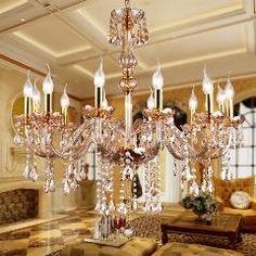 [ $33 OFF ] Crystal Chandelier Lighting Amber Glass Chandeliers Luxury Pendant Hanging Light Lustres De Cristal Lamp Home Lighting Fixture