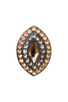 Hematite Grey Blush Almond Rhinestone Ring