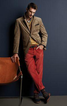 red pants, yellow shirt and tan blazer
