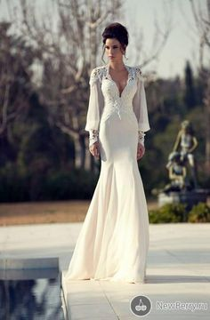chiffon bridal gown Picture - More Detailed Picture about Real Photos Sheer Lace V Neck Mermaid Wedding Dresses Sexy Open Back Vestido de noiva Vintage Full Sleeves Chiffon Bridal Gowns Picture in Wedding Dresses from LANDUOER Wedding Dress Ltd. Wedding Dress 2013, Wedding Gowns With Sleeves, Classic Wedding Dress, Long Sleeve Wedding, Wedding Dress Sleeves, Dresses With Sleeves, Elegant Wedding, Weird Wedding Dress, Classic Dresses