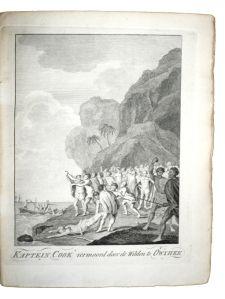 """De dood van kapitein Cook, volgens de """"Reis naar den Stillen Oceaan"""" (Rotterdam, Bothall en Vis, 1787)"""